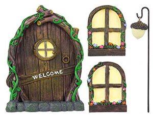 4 piece miniature outdoor garden decoration