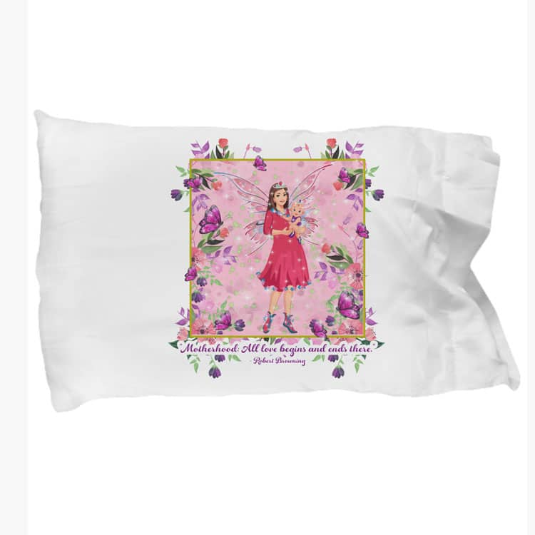 mariane the mother's day fairy pink background and floral border pillowcases