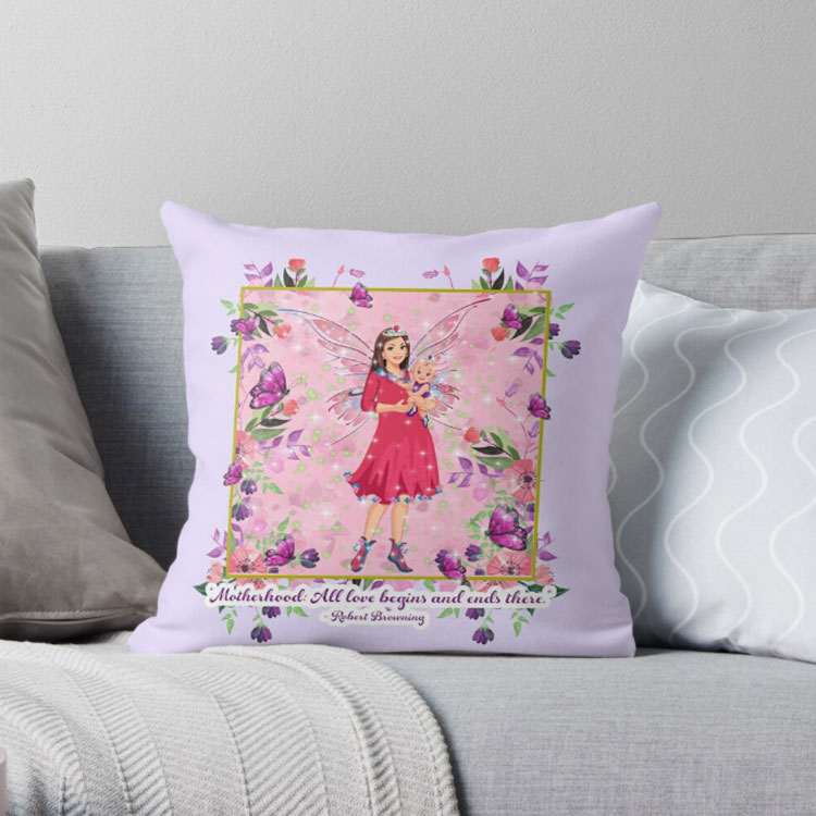 mothers day fairy throw pillow