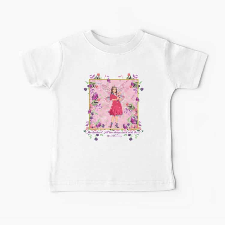 pink background and floral border baby t shirt