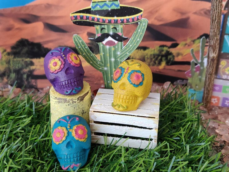 miniature colorful decorative skulls