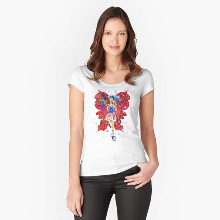 patriotic patsy the 4th of july fairy fitted scoop t shirt