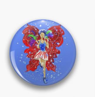 Patriotic Patsy Pin Button