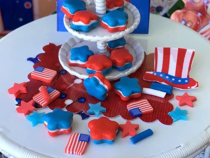 patriotic star cookies, miniature, cookies