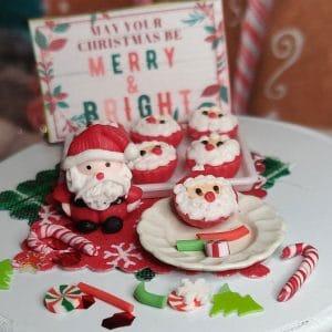 ho ho ho santa cupcakes, miniature dollhouse, fairy garden, christmas miniature