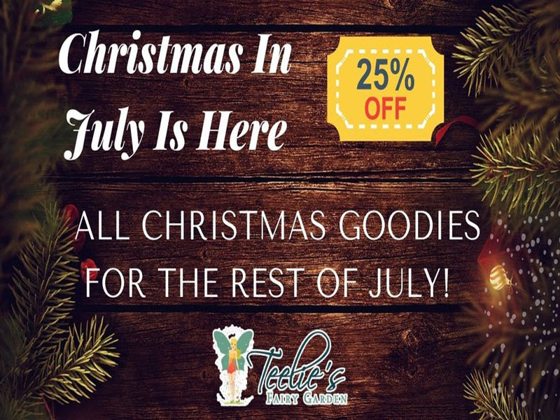 teelie, 25% off all christmas goodies for the rest of july!