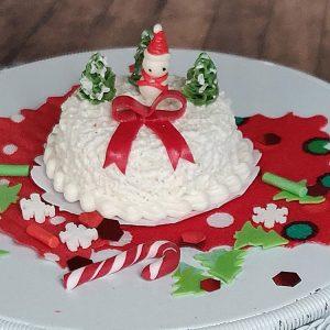 white snowman christmas cake, miniatures