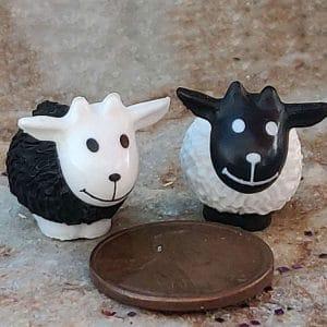 fairy garden sweet black and white sheep