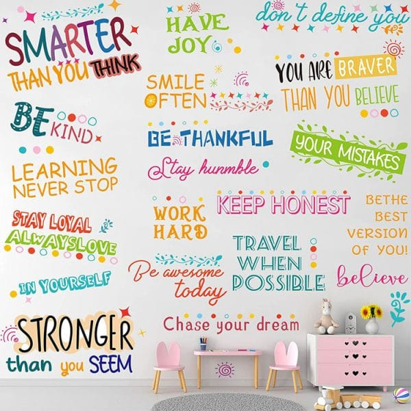 2 pieces colorful inspirational sayings decals motivational quotes wall stickers