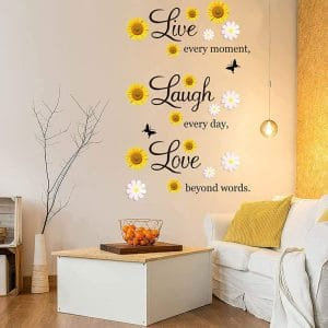 4 sheets inspirational quotes wall decals vinyl sunflower daisy wall stickers