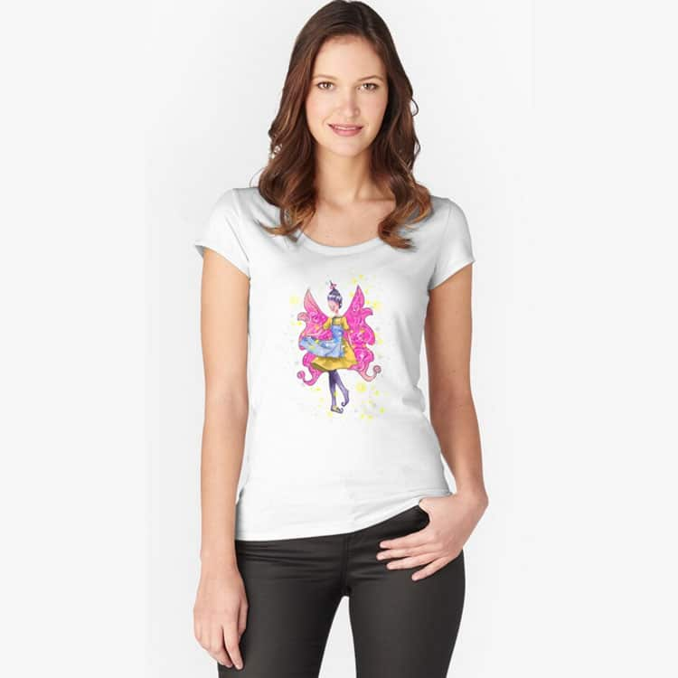 abella the apron fairy fitted scoop t shirt