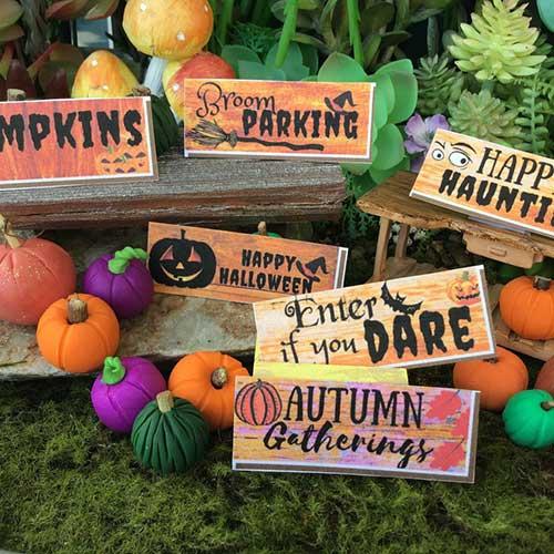 boo miniature halloween signs