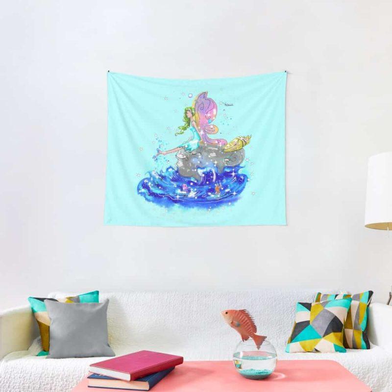 Blue Sea Mist The Seaside Fairy™ Tapestry