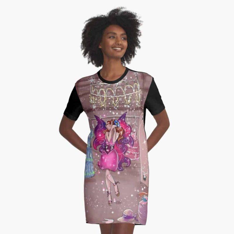 Fanoza The Fancy Kit Fairy™ Graphic T Shirt Dress