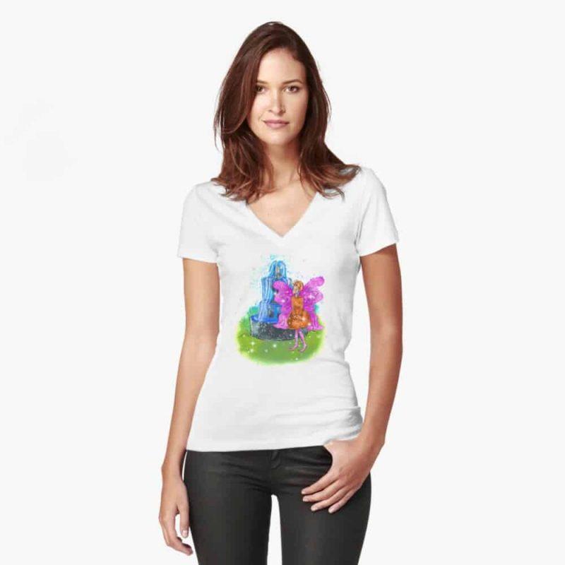 Fatunie The Birdbath And Fountain Fairy™ Fitted V Neck T Shirt