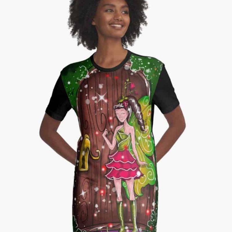Florina The Fairy House Fixed Door Fairy™ Graphic T Shirt Dress