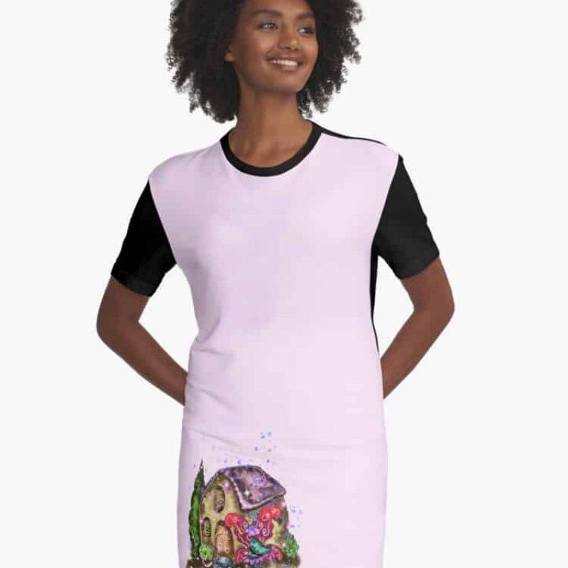 Heidifoo The Hypertufa House Fairy™ Graphic T Shirt Dress