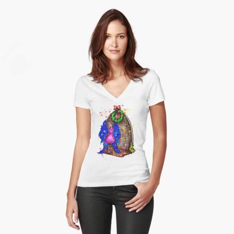 Hollydays Shimmer The Seasonal Door Fairy™ Fitted V Neck T Shirt