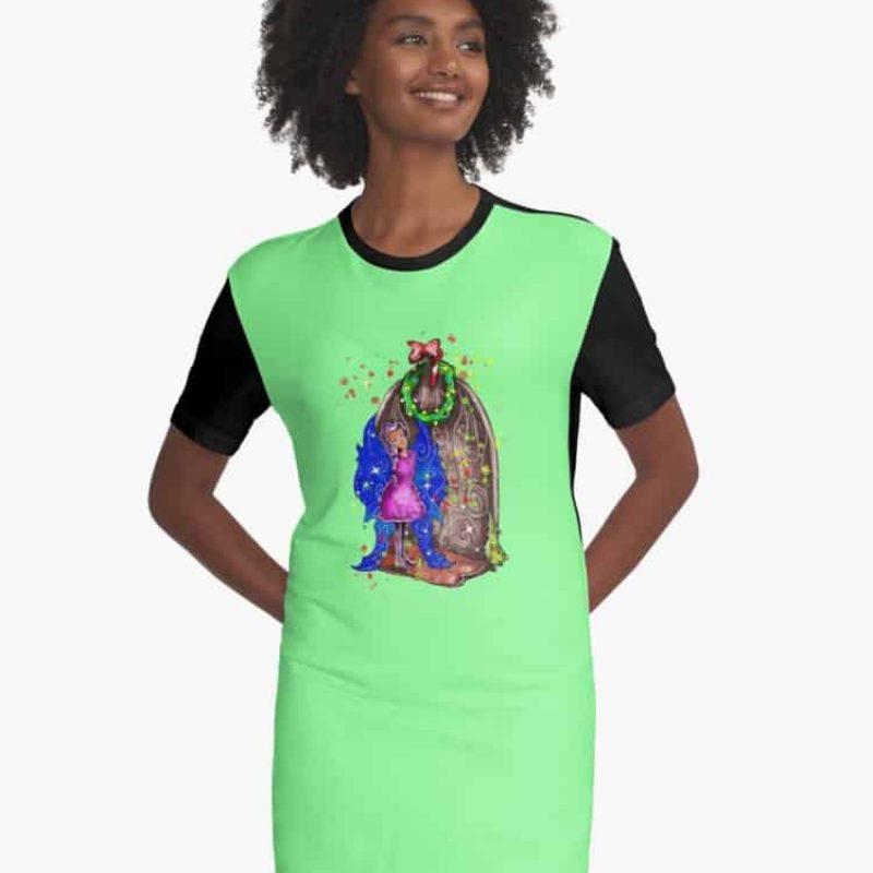 Hollydays Shimmer The Seasonal Door Fairy™ Graphic T Shirt Dress