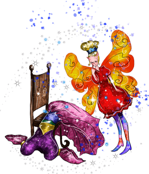 sparkled fairy looking at a fairy costume