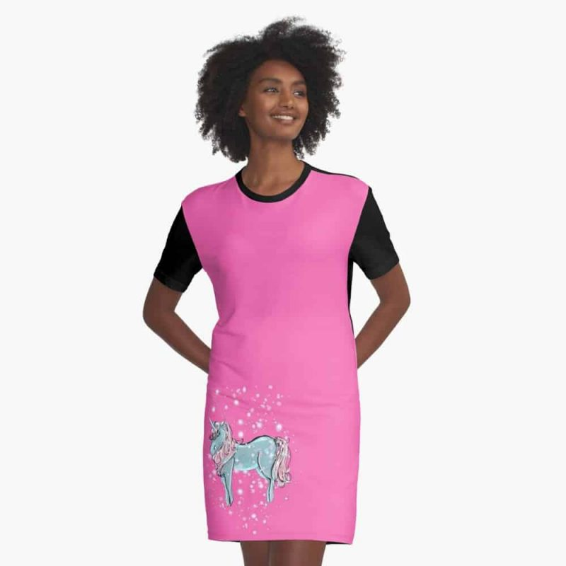 Ureen The Unicorn Fairy Graphic T Shirt Dress