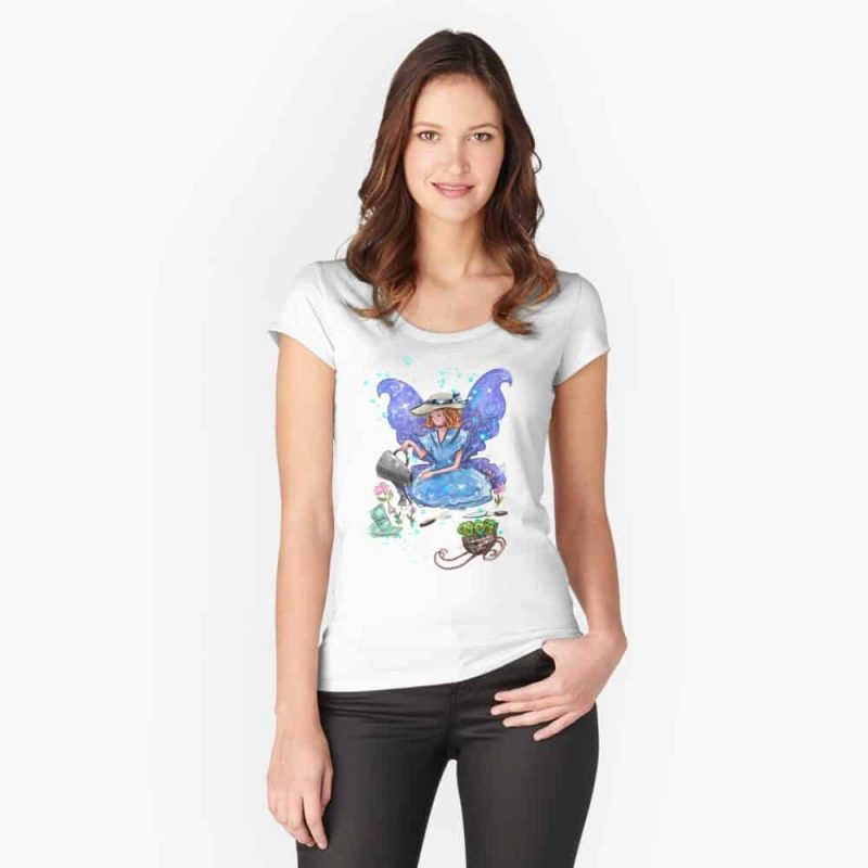 Watrina The Watering Can, Tool And Flowerpot Fairy™ Fitted Scoop T Shirt
